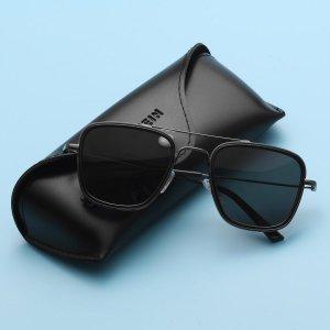 Мужские поляризованные солнцезащитные очки в квадратной оправе SHEIN. Цвет: чёрный