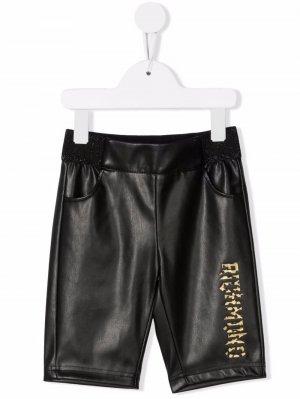 Logo-print faux-leather trousers John Richmond Junior. Цвет: черный
