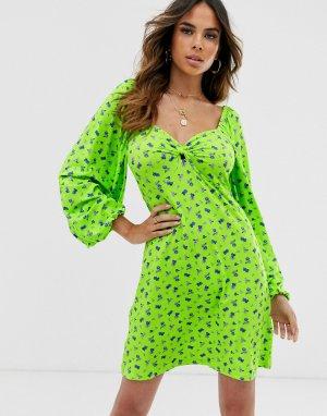 Чайное платье мини с флуоресцентным принтом -Мульти ASOS DESIGN