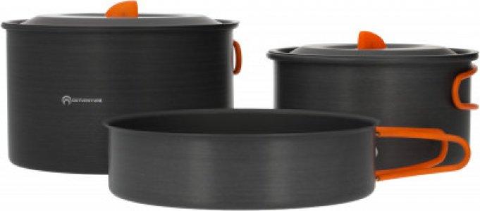 Набор посуды 2 кастрюли, сковорода, 2021 Outventure. Цвет: серый
