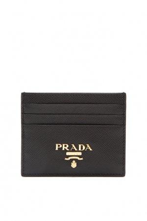 Черная кожаная визитница Prada. Цвет: черный