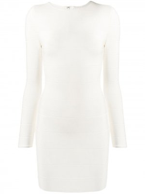 Облегающее коктейльное платье со вставками Hervé Léger. Цвет: белый