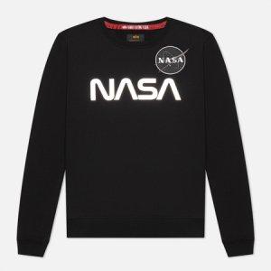 Женская толстовка NASA Mirror Print Alpha Industries. Цвет: чёрный