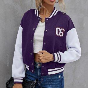 Контрастная куртка-бомбер с заплатой цифры SHEIN. Цвет: пурпурный