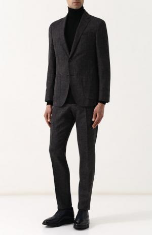 Костюм из смеси шерсти и льна с пиджаком на двух пуговицах Windsor. Цвет: коричневый