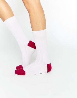 Кашемировые носки в рубчик стиле колор блок of Elgin Johnstons. Цвет: розовый