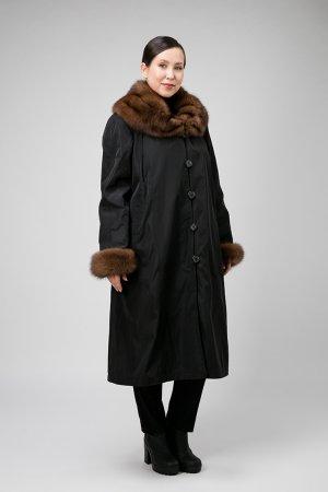 Длинное пальто на меху кролика для больших размеров Garioldi. Цвет: черный