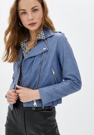 Куртка кожаная Imperial. Цвет: голубой