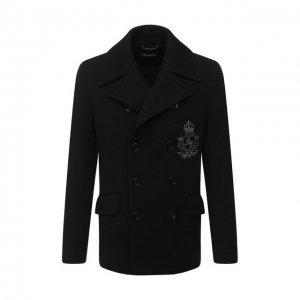 Шерстяной бушлат Dolce & Gabbana. Цвет: чёрный