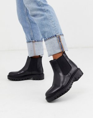 Черные кожаные ботинки челси на массивной плоской подошве -Черный Rule London