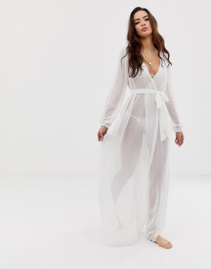 Белое пляжное кимоно макси из шифона с длинными рукавами и поясом -Белый ASOS DESIGN