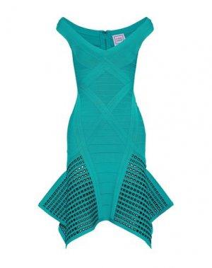 Короткое платье HERVÉ LÉGER. Цвет: бирюзовый