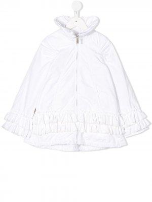 Куртка с высоким воротником и оборками Lapin House. Цвет: белый