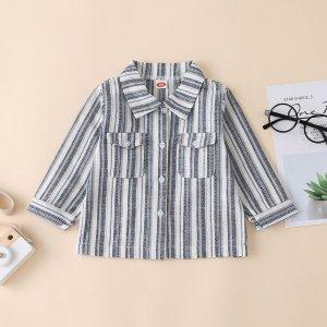 Рубашка с пуговицами и карманом для мальчиков SHEIN. Цвет: многоцветный