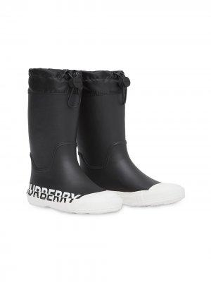 Резиновые сапоги с логотипом Burberry Kids. Цвет: черный