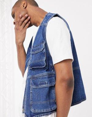 Темно-синий джинсовый жилет в стиле милитари -Голубой Bershka