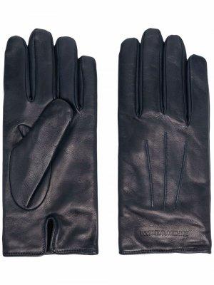 Перчатки с тисненым логотипом Emporio Armani. Цвет: синий