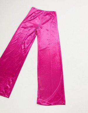 Бархатные брюки цвета фуксии -Розовый цвет AQAQ