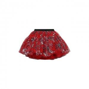 Многослойная юбка Monnalisa. Цвет: красный
