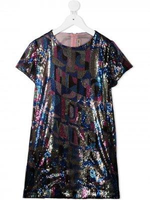 Платье с пайетками Emilio Pucci Junior. Цвет: синий