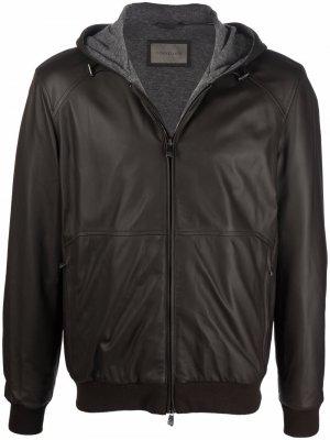 Куртка на молнии с капюшоном Corneliani. Цвет: коричневый