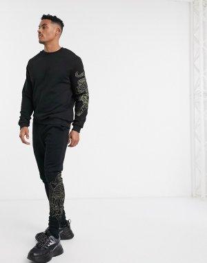 Трикотажный свитшот от комплекта с вышивкой -Черный ASOS DESIGN