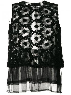 Кружевной топ с вышивкой Comme Des Garçons Noir Kei Ninomiya. Цвет: чёрный