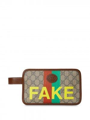Кошелек с принтом Fake/Not Gucci. Цвет: нейтральные цвета