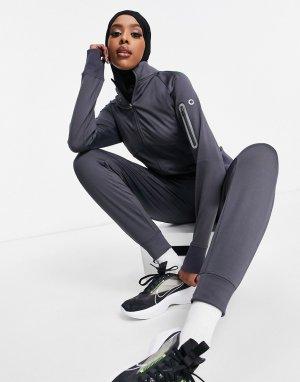 Куртка для бега с вырезами больших пальцев и карманом телефона -Серый ASOS 4505