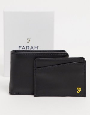 Подарочный набор с бумажником и кредитницей -Черный Farah