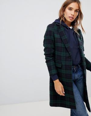 Пальто в клетку тартан New Look. Цвет: зеленый