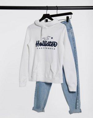 Худи белого цвета с логотипом -Белый Hollister