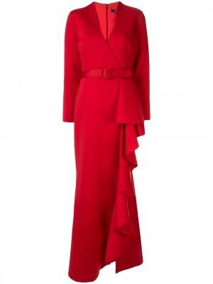 Вечернее платье с оборками Badgley Mischka. Цвет: красный