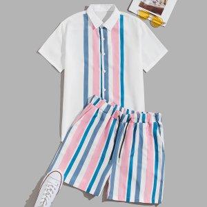 Мужской в полоску на пуговицах Рубашка & Шорты SHEIN. Цвет: многоцветный