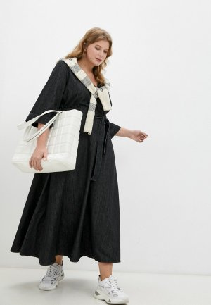 Платье джинсовое Marina Rinaldi Sport DAMIERE. Цвет: черный