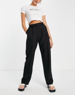 Черные брюки-галифе с прямыми штанинами -Черный цвет Topshop