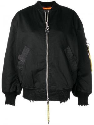 Куртка-бомбер с логотипом на рукаве Diesel. Цвет: черный