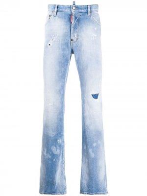 Расклешенные джинсы с эффектом потертости Dsquared2. Цвет: синий