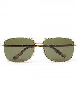 Солнцезащитные очки в квадратной оправе Ermenegildo Zegna. Цвет: зеленый
