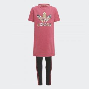 Комплект: платье и леггинсы Graphic Originals adidas. Цвет: розовый