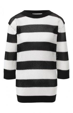 Пуловер из смеси шелка и хлопка Dorothee Schumacher. Цвет: черно-белый