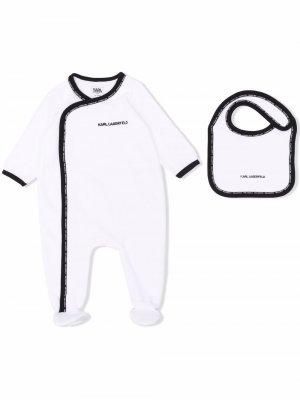 Chest embroidered-logo pajama Karl Lagerfeld Kids. Цвет: белый