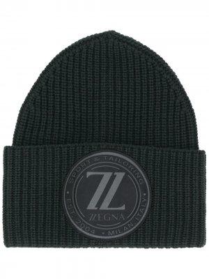 Шапка бини с нашивкой-логотипом Ermenegildo Zegna. Цвет: зеленый