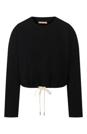 Хлопковый пуловер Marni. Цвет: темно-синий