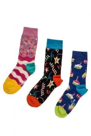 Комплект носков HAPPY SOCKS. Цвет: молочный, розовый, синий