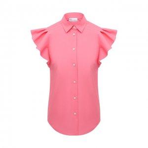 Хлопковая рубашка REDVALENTINO. Цвет: розовый