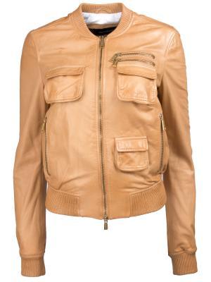 Кожаная куртка DSQUARED2. Цвет: бежевый