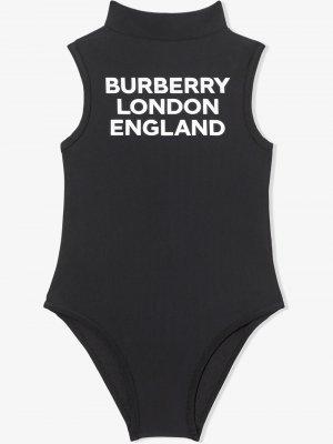 Купальник с воротником-стойкой и логотипом Burberry Kids. Цвет: черный