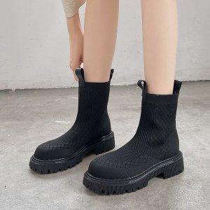 Ботинки носки SHEIN. Цвет: чёрный