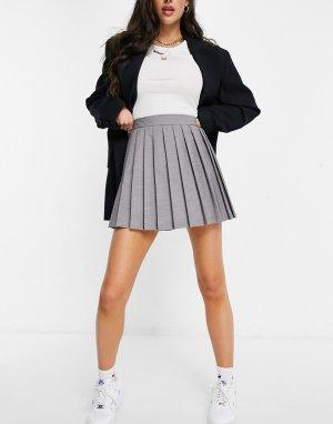 Плиссированная теннисная юбка светло-серого цвета -Серый ASOS DESIGN